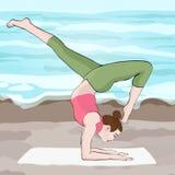 Joga poza, kobiety handstand, wektorowy stubarwny rysunkowy portret Medytacja, angażuje w gimnastyki kreskówki dziewczynie Obrazy Stock