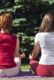 joga zewn?trznego Szcz??liwa kobieta robi joga ?wiczeniom Joga medytacja w naturze Poj?cie zdrowy styl ?ycia i relaks Kobieta fotografia stock