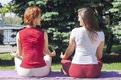 joga zewn?trznego Szcz??liwa kobieta robi joga ?wiczeniom Joga medytacja w naturze Poj?cie zdrowy styl ?ycia i relaks Kobieta fotografia royalty free