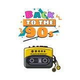 Jogador audio preto e amarelo antiquado de 90s Imagem de Stock Royalty Free