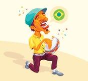 Jogador brasileiro do pandeiro Imagens de Stock Royalty Free