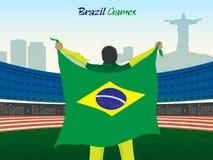 Jogador com a bandeira brasileira para o conceito dos esportes Foto de Stock