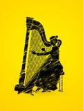 Jogador da harpa ilustração stock