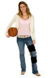 Jogador de basquetebol com trajeto de grampeamento Foto de Stock Royalty Free