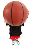 Jogador de basquetebol da criança com a esfera sobre a face fotos de stock royalty free