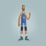 Jogador de basquetebol de sorriso dos homens da ilustração Foto de Stock Royalty Free