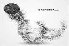 Jogador de basquetebol de uma silhueta da partícula Fotos de Stock
