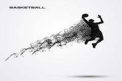 Jogador de basquetebol de uma silhueta da partícula Fotografia de Stock