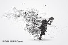 Jogador de basquetebol de uma silhueta da partícula Fotos de Stock Royalty Free