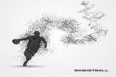 Jogador de basquetebol de uma silhueta da partícula Fotografia de Stock Royalty Free