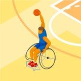 Jogador de basquetebol fisicamente deficiente de Isometirc 3D na corte Imagens de Stock Royalty Free