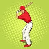 Jogador de beisebol com vetor do estilo do pop art do bastão Imagens de Stock
