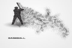 Jogador de beisebol de uma silhueta da partícula Imagens de Stock Royalty Free