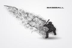 Jogador de beisebol de uma silhueta da partícula Imagens de Stock