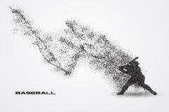 Jogador de beisebol de uma silhueta da partícula Imagem de Stock