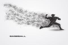 Jogador de beisebol de uma silhueta da partícula Foto de Stock