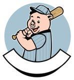 Jogador de beisebol do porco Fotos de Stock Royalty Free