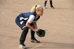 Jogador de campo do softball fotografia de stock