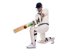 Jogador de cricket que joga um tiro fotografia de stock royalty free