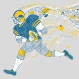 Jogador de futebol americano que corre com fugas gráficas ilustração royalty free
