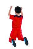 Jogador de futebol asiático de vencimento que mostra o braço acima do gesto Ação dos wi Fotos de Stock