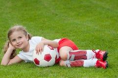 Jogador de futebol bonito fotografia de stock royalty free