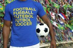 Jogador de futebol brasileiro Salvador Wish Ribbons do futebol imagem de stock