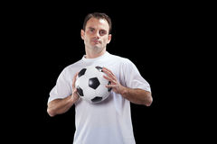Jogador de futebol com esfera Foto de Stock Royalty Free