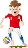 Jogador de futebol com esfera Imagens de Stock