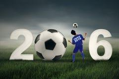 Jogador de futebol com números 2016 Imagens de Stock