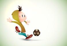 Jogador de futebol da criança que joga o futebol ilustração royalty free