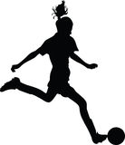 Jogador de futebol da mulher Fotografia de Stock Royalty Free