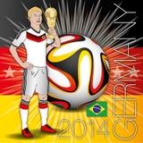 Jogador de futebol de Alemanha com copo Fotografia de Stock Royalty Free