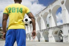 Jogador de futebol 2014 de Brasil Soccer Player Rio Imagem de Stock Royalty Free