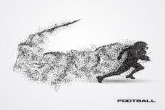 Jogador de futebol de uma silhueta da partícula Fotografia de Stock Royalty Free