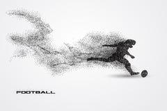 Jogador de futebol de uma silhueta da partícula Imagem de Stock