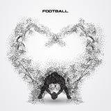 Jogador de futebol de uma silhueta da partícula Foto de Stock