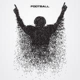 Jogador de futebol de uma silhueta da partícula Fotografia de Stock