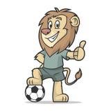 Jogador de futebol do leão que mostra o polegar acima Fotografia de Stock Royalty Free