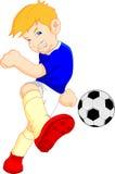Jogador de futebol dos desenhos animados do menino Foto de Stock Royalty Free