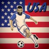Jogador de futebol dos EUA com fundo da bandeira Fotografia de Stock