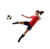 Jogador de futebol fêmea fotografia de stock
