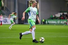 Jogador de futebol fêmea Alexandra Popp na ação durante a liga dos campeões das mulheres do UEFA imagem de stock royalty free