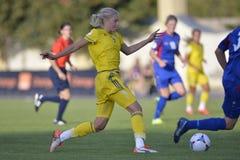 Jogador de futebol fêmea sueco - Lina Hurtig Fotos de Stock