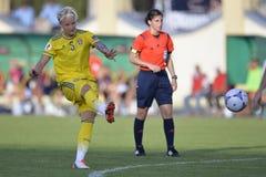 Jogador de futebol fêmea sueco - Nilla Fischer Fotos de Stock