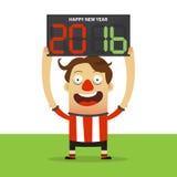Jogador de futebol feliz que guarda a placa da substituição com massagem do ano novo feliz 2016 ilustração do vetor