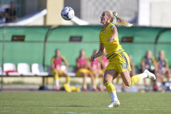 Jogador de futebol fêmea sueco - Sofia Jakobsson Foto de Stock Royalty Free