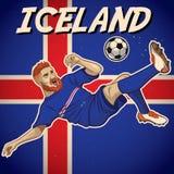 Jogador de futebol de Islândia com fundo da bandeira Fotografia de Stock