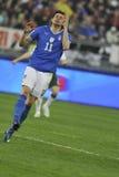 Jogador de futebol italiano que falha um objetivo Fotografia de Stock