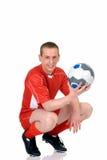 Jogador de futebol masculino novo fotografia de stock royalty free